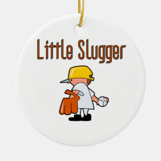 Little Slugger Baseball T-shirts and Gifts Double-Sided Ceramic Round Christmas Ornament