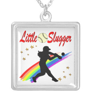 LITTLE SLUGGER GIRLS SOFTBALL DESIGN SILVER PLATED NECKLACE