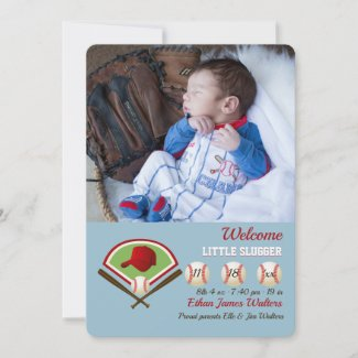 Little Slugger Photo Birth Announcement