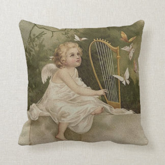 Little Smiling Angel with Butterflies and Harp Throw Pillow