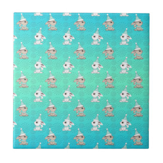 Little Snow Bunnies in Hats and Scarves Pattern Ceramic Tile