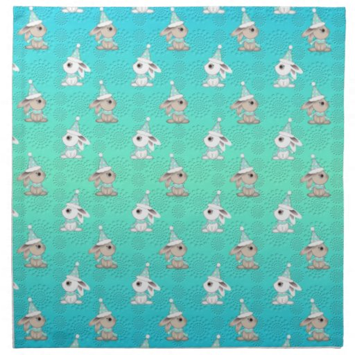 Little Snow Bunnies in Hats and Scarves Pattern Printed Napkin