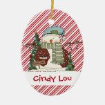 Little Snow Guys Candy Cane Snowman Cutie Christmas Tree Ornaments