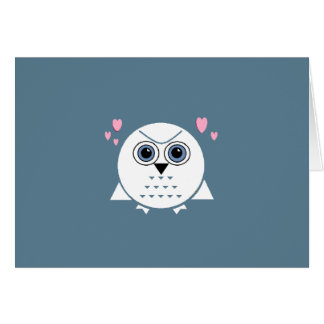 LITTLE SNOW OWL GREETING CARD ..ADD YOUR TEXT