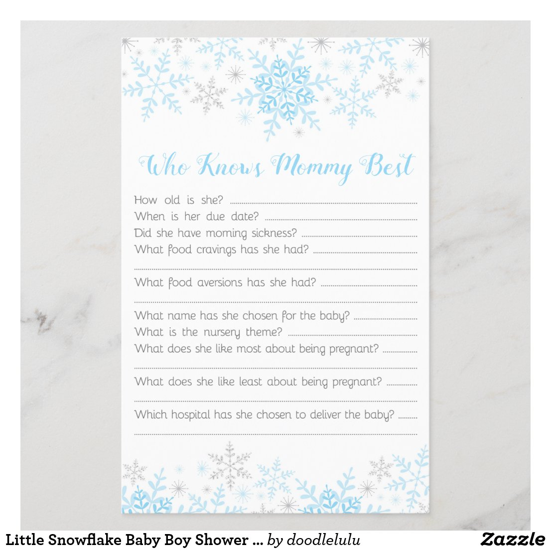 Little Snowflake Baby Boy Shower Mommy Quiz Blue