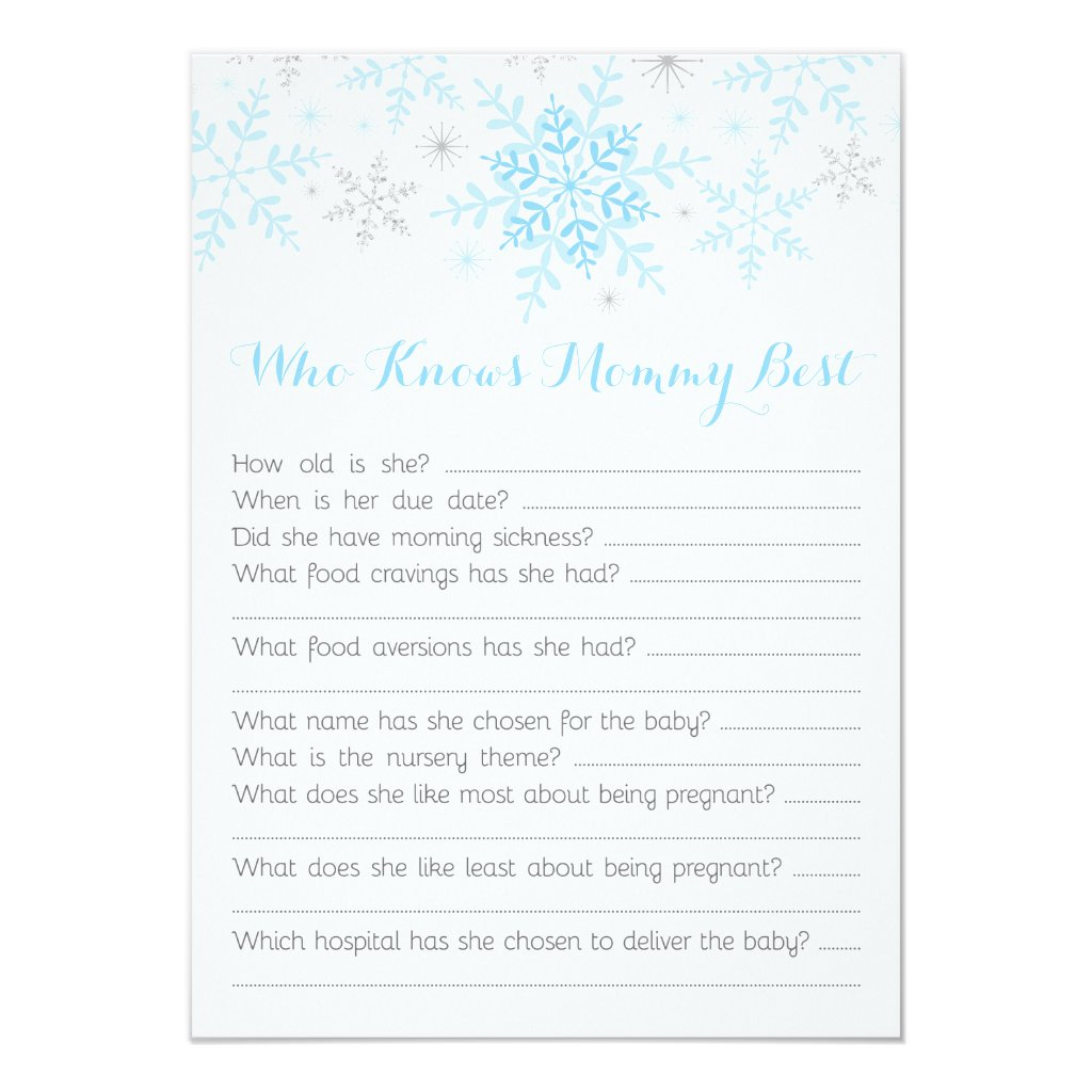 Little Snowflake Baby Boy Shower Mommy Quiz Blue Invitation