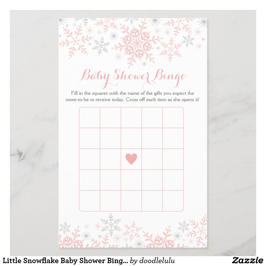 Little Snowflake Baby Shower Bingo Game