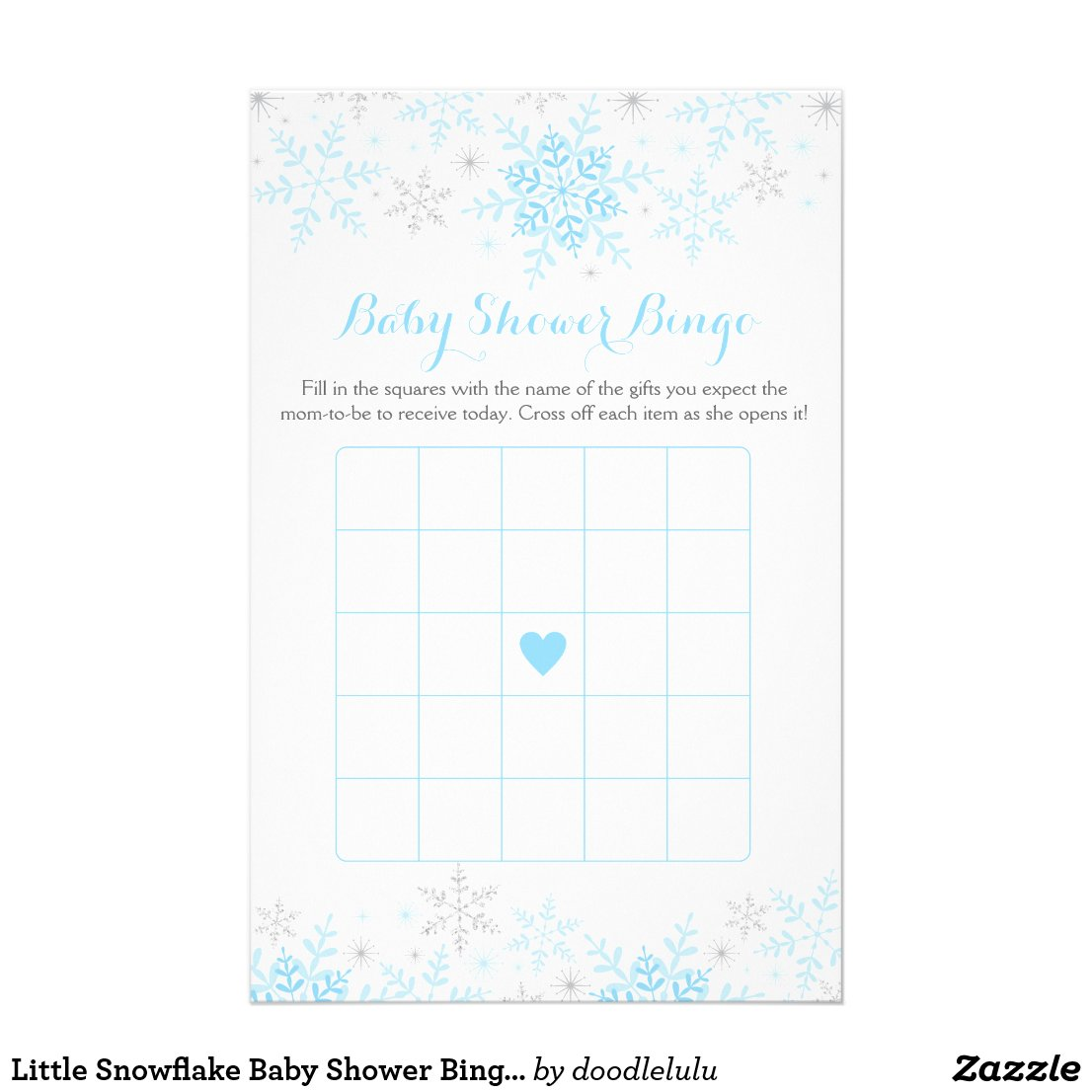 Little Snowflake Baby Shower Bingo Game Flyer