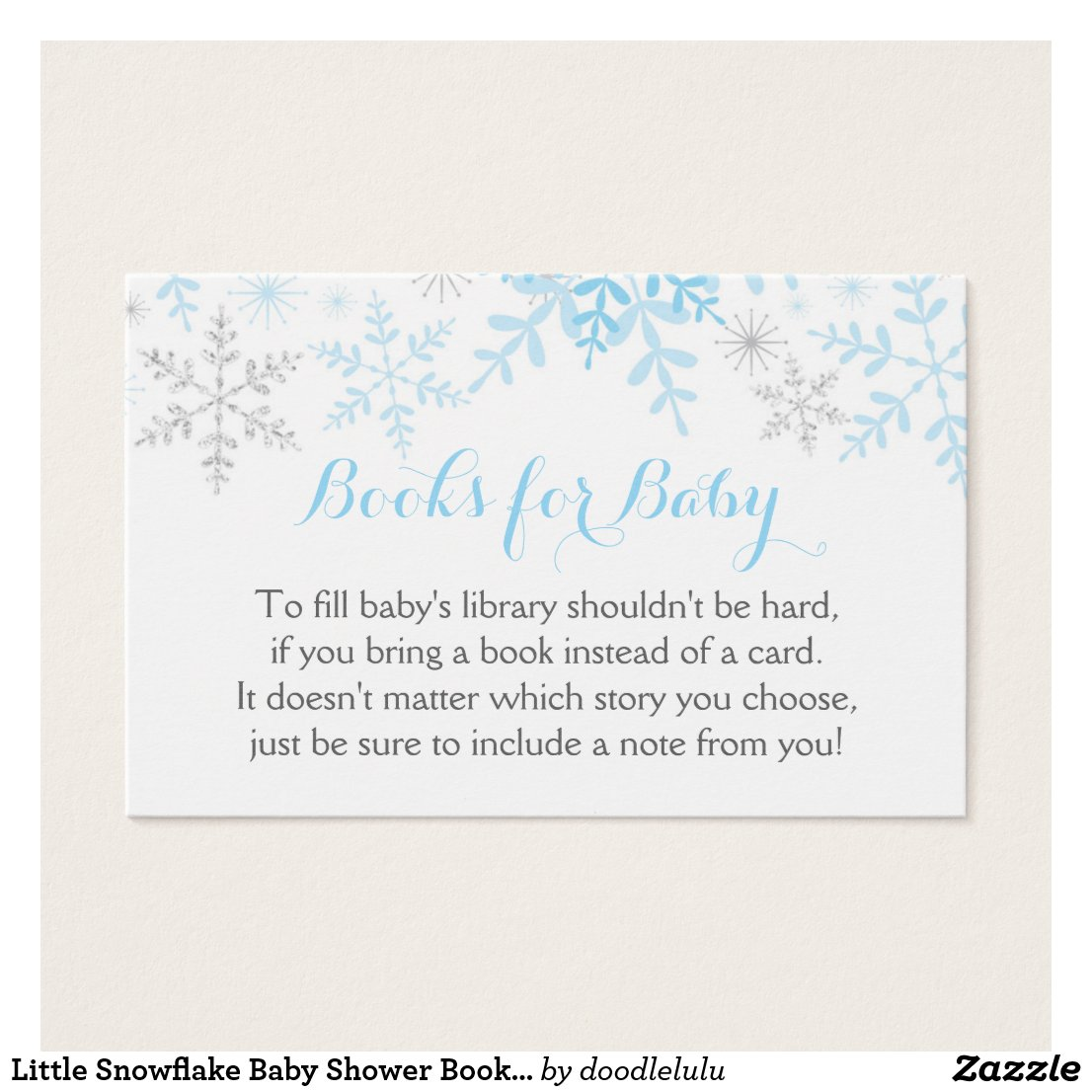 Little Snowflake Baby Shower Book Request Card