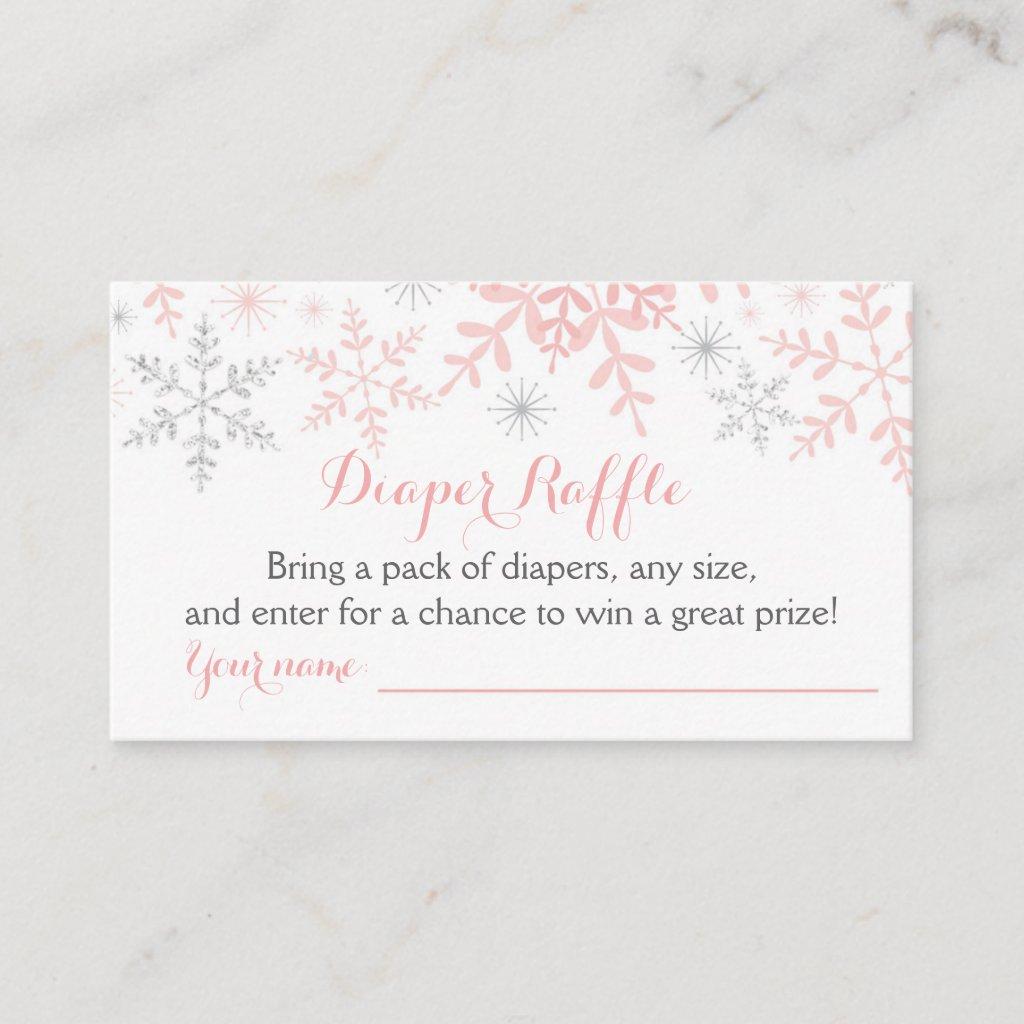 Little Snowflake Baby Shower Diaper Raffle Ticket Enclosure Card