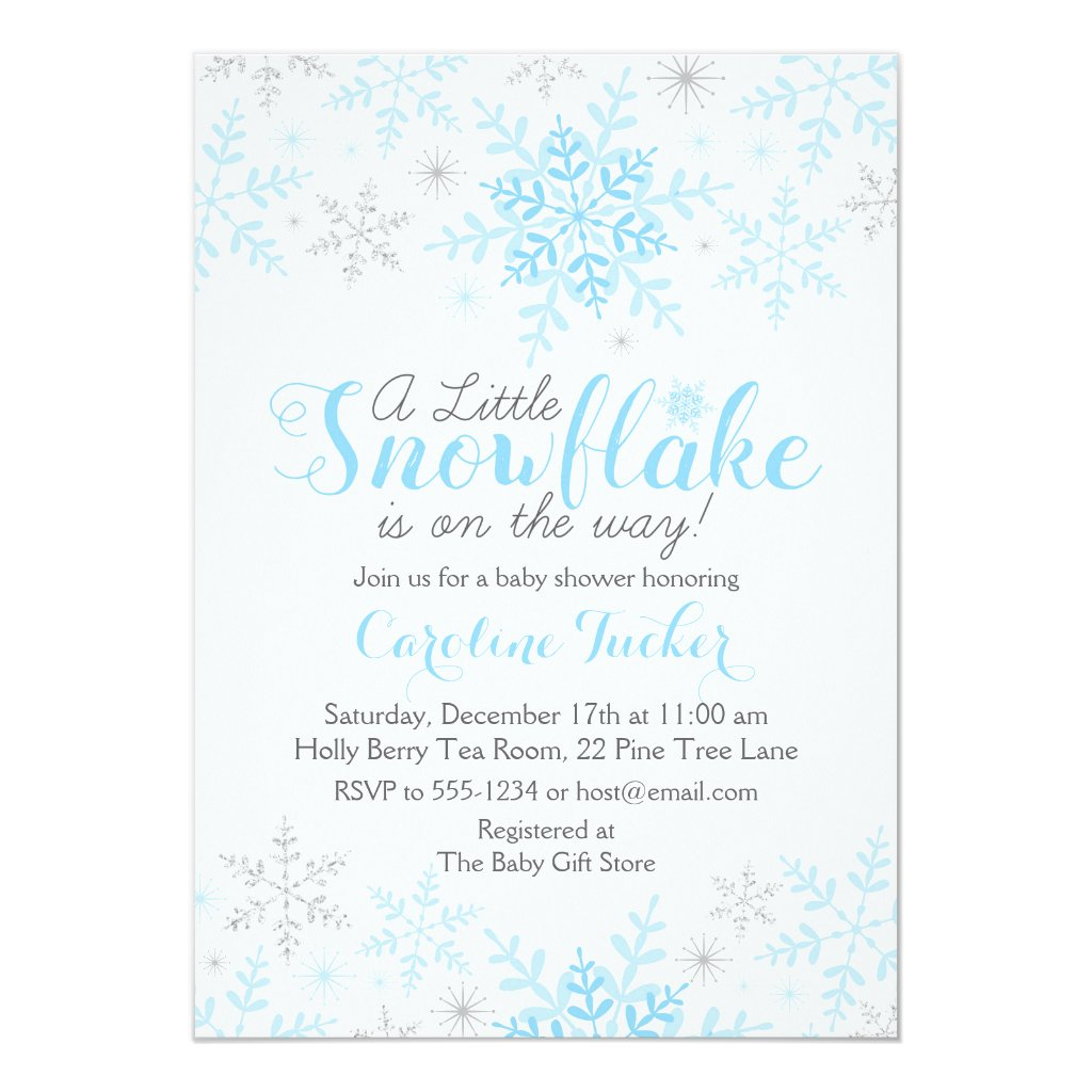 Little Snowflake Baby Shower Invite in Blue Silver