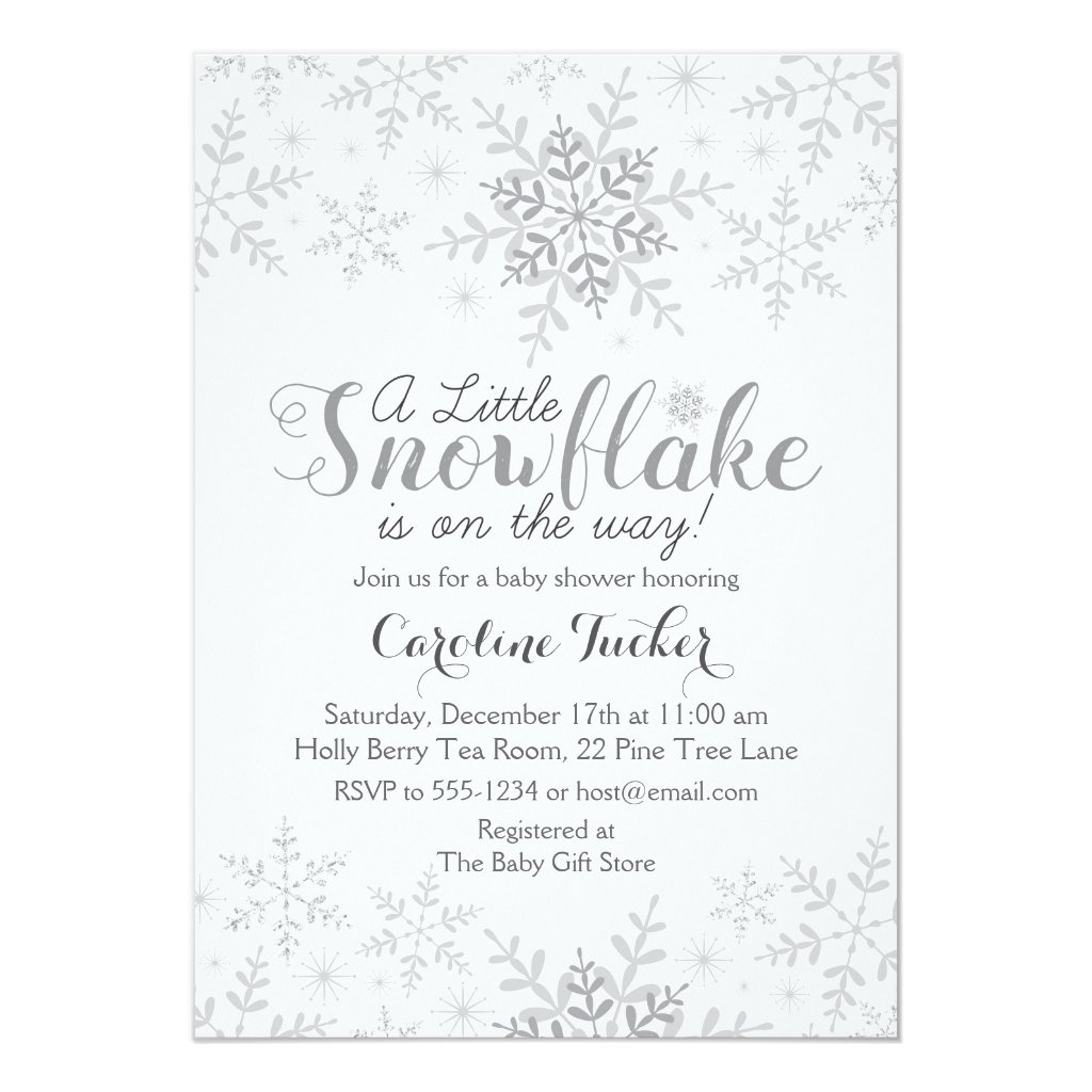 Little Snowflake Baby Shower Invite in Silver Gray