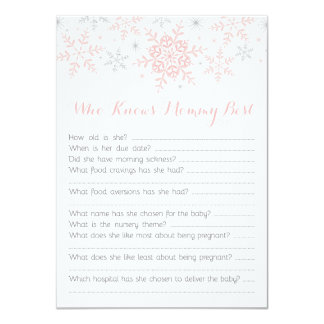 Quiz cards greeting photo cards zazzle little snowflake baby shower mom quiz pink silver card stopboris Image collections