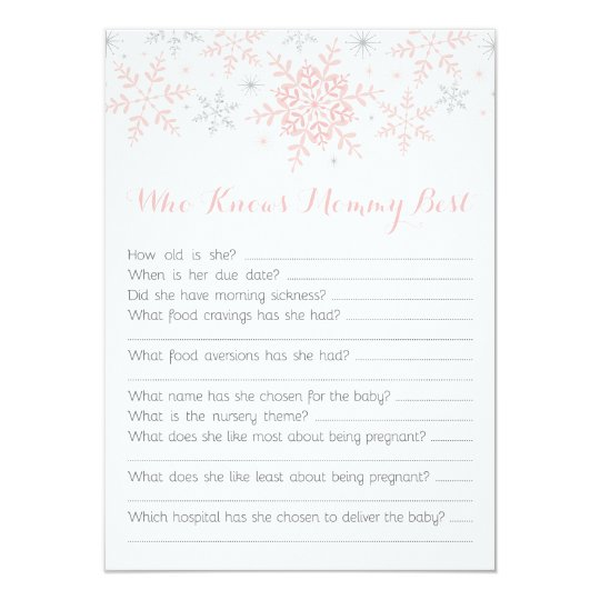 little snowflake baby shower mom quiz pink silver invitation