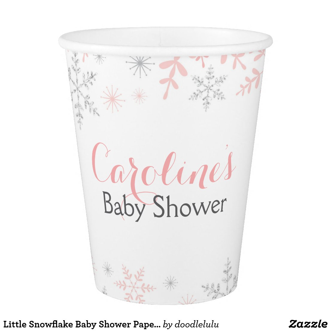 Little Snowflake Baby Shower Paper Cup Pink Silver