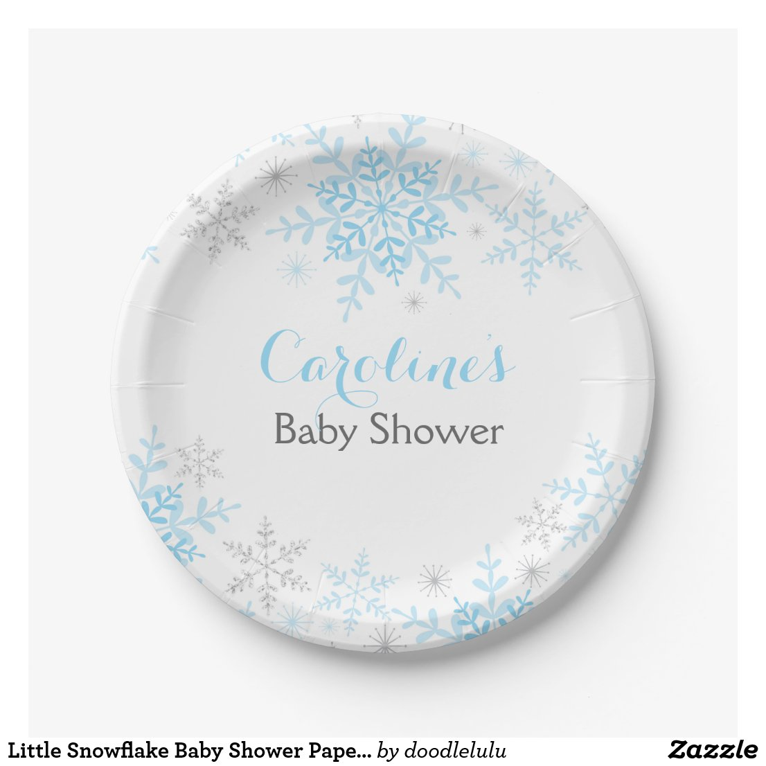 Little Snowflake Baby Shower Paper Plate