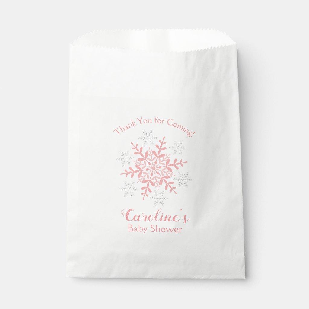 Little Snowflake Baby Shower Pink & Silver Glitter Favor Bag