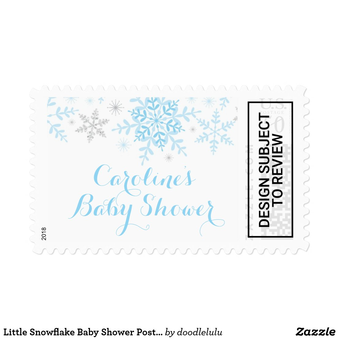 Little Snowflake Baby Shower Postage Stamp in Blue