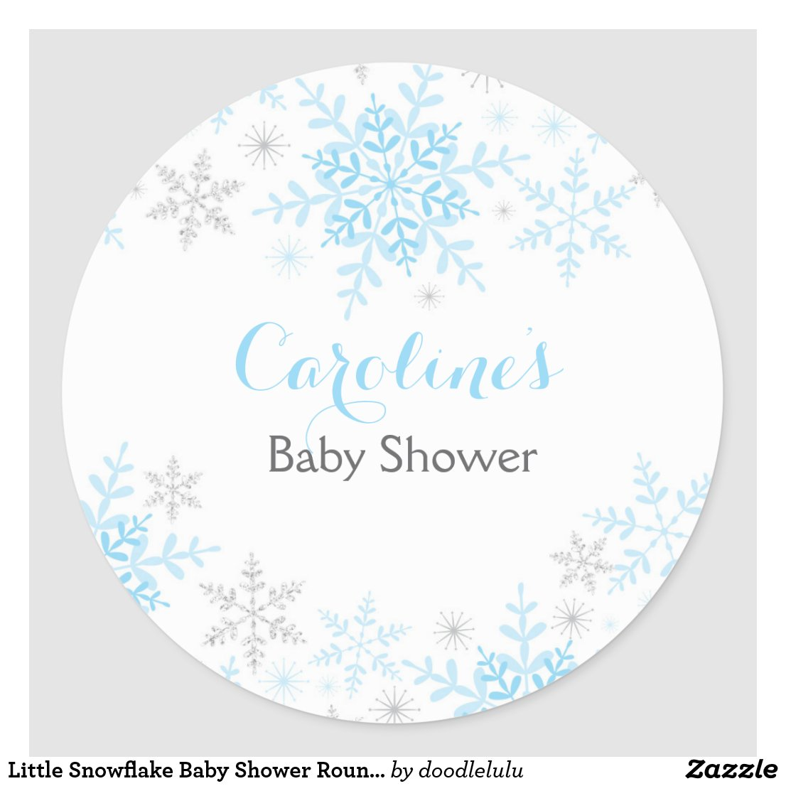 Little Snowflake Baby Shower Round Sticker