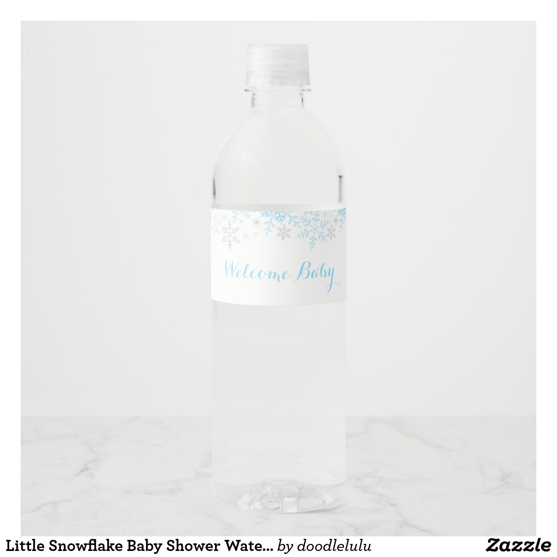 Little Snowflake Baby Shower Water Label, Blue Water Bottle Label