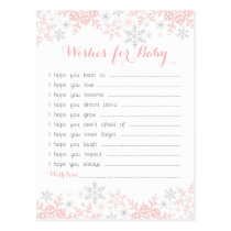Little Snowflake Baby Shower Wishes for Baby Postcard