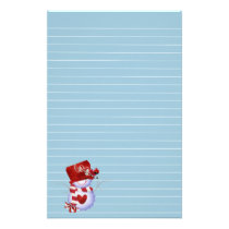Little Snowman in Red Hat Stationery