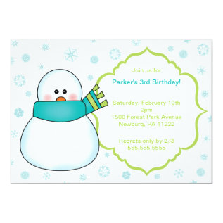 Little Snowman Winter Birthday Party Invite at Zazzle