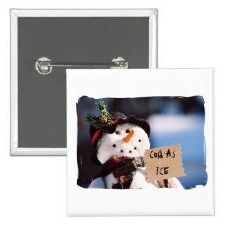 Little Snowman With Customizable Sign Pinback Buttons