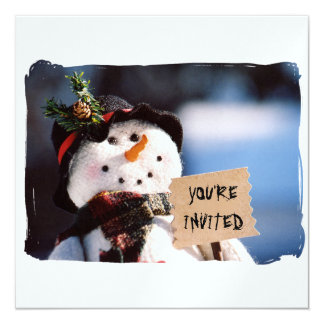 Little Snowman With Customizable Sign 5.25x5.25 Square Paper Invitation Card