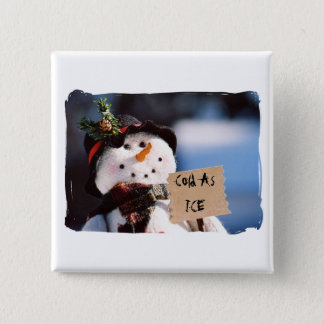 Little Snowman With Customizable Sign Pinback Button