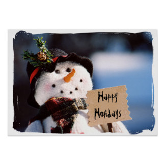 Little Snowman With Customizable Sign Posters