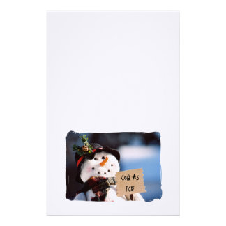 Little Snowman With Customizable Sign Stationery