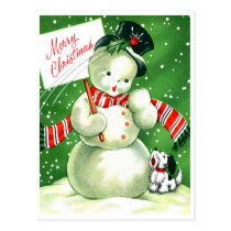 Little snowman with his dog at christmas night postcard