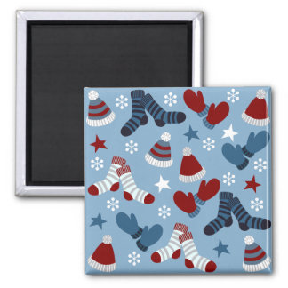 Little Socks, Hats, Mittens Holiday Pattern Fridge Magnet
