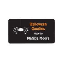Little spider Halloween food label Address Label