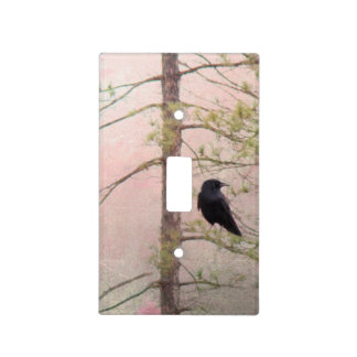 Little Spring Crow Art Raven Deco Light Switch Plate