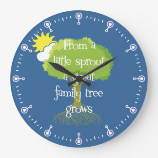 Little Sprout Family Tree Round Clock