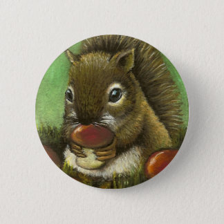 Little squirrel and mushrooms button