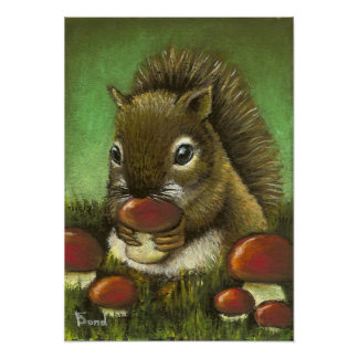 Little squirrel and mushrooms poster
