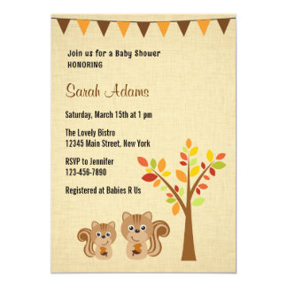 Little Squirrel Baby Shower Invitation Rustic