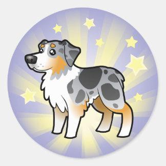 Little Star Australian Shepherd Classic Round Sticker