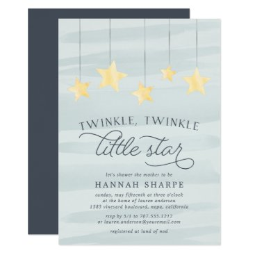 Toddler & Baby themed Little Star Baby Shower Invitation | Mint