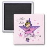 Little Star Ballerina - Blond Hair 2 Inch Square Magnet