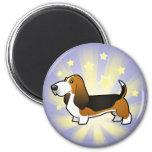 Little Star Basset Hound 2 Inch Round Magnet