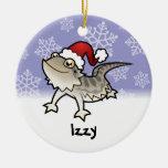 Little Star Bearded Dragon / Rankins Dragon Double-Sided Ceramic Round Christmas Ornament