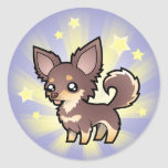 Little Star Chihuahua (long coat) Classic Round Sticker