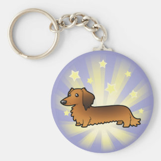 Little Star Dachshund (longhair) Keychain