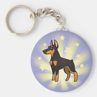 Little Star Doberman Pinscher (pointy ears) Keychain