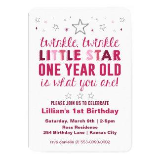 Little Star Girls First Birthday Card