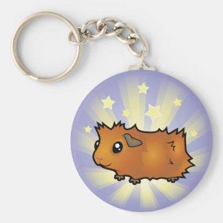 Little Star Guinea Pig (scruffy) Basic Round Button Keychain